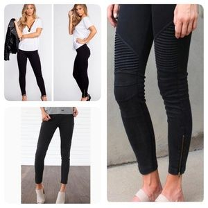 New Mix Stretchy Moto Zip Leggings